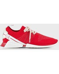Giorgio Armani Sneakers à lacets en maille et cuir - Rouge