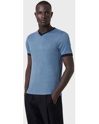 Giorgio Armani T-shirt en viscose et soie - Bleu