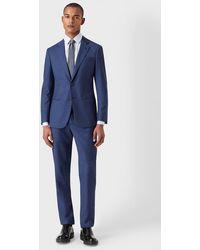 Giorgio Armani Anzug aus der Soho-Linie Slim Fit Half-Canvas aus Wolle in Fil à Fil - Blau