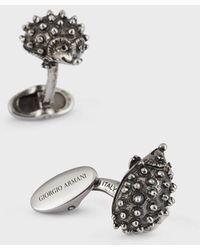 Giorgio Armani Gemelos de plata con forma de erizo - Gris