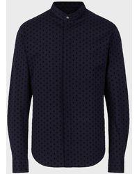Giorgio Armani Camicia In Cotone Con Disegno A Rombi Floccato - Blu