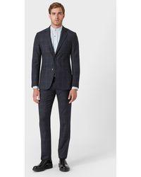 Giorgio Armani Slim Fit-Anzug aus der Soho-Linie aus Half-Canvas aus offen strukturiertem Stoff - Blau