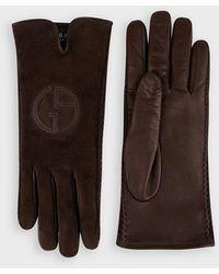 Giorgio Armani Handschuhe mit Vorderseite aus Veloursleder mit Logo - Braun