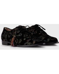 Giorgio Armani Zapatos Con Cordones De Terciopelo Bordado - Negro
