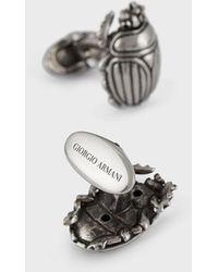 Giorgio Armani Gemelos plateados en forma de escarabajo - Gris
