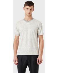 Giorgio Armani T-shirt en soie et lin à rayures - Multicolore