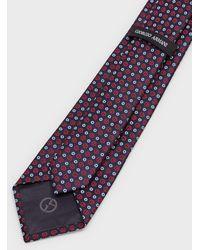 Giorgio Armani Krawatte Aus Seide Mit Durchgehendem Logo - Blau