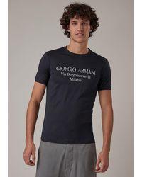 Giorgio Armani T-shirt « Borgonuovo » en jersey de viscose - Bleu