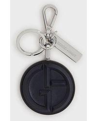 Giorgio Armani Porte-clés logo en cuir et nappa - Noir