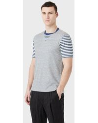 Giorgio Armani T-shirt en soie et lin à rayures - Bleu