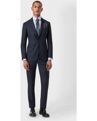 Giorgio Armani Anzug aus der Soho-Linie Slim Fit Half-Canvas aus superfeiner Wolle - Blau