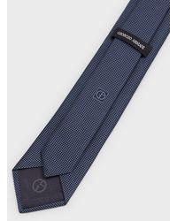 Giorgio Armani Cravate En Soie À Petits Carreaux - Bleu