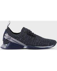 Giorgio Armani Sneakers à lacets en maille - Bleu