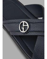 Giorgio Armani Ciabatte in pelle con logo GA - Blu