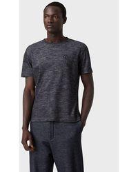 Giorgio Armani T-shirt en coton et laine effet denim avec broderie - Bleu