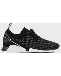 Giorgio Armani Sneakers en toile à mini pois avec logo - Noir