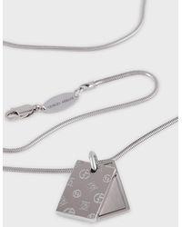 Giorgio Armani Silberne Kette Mit Zwei Logo-plättchen - Mettallic