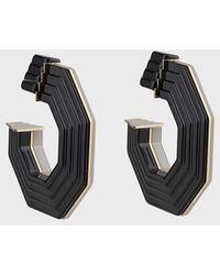 Giorgio Armani Pendientes bicolor con efecto rayas - Negro