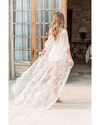 Girl&aSeriousDream Emma Long Lace Robe Dressing Gown Kimono - Multicolor