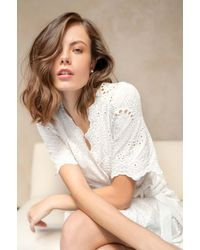 Girl&aSeriousDream Iris Eyelet Crochet Lace Wrap Mini Dress - White