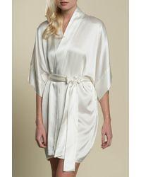 Girl&aSeriousDream Samantha Silk Getting Ready Robe Bridal Kimono Bridesmaids Gift Ivory - White