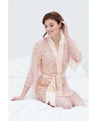 Girl&aSeriousDream Tulip French Lace & Silk Kimono Robe - Pink