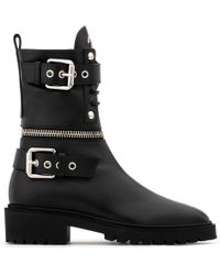 Giuseppe Zanotti - Leather Boot With Metal Zips And Buckles Cameron - Lyst