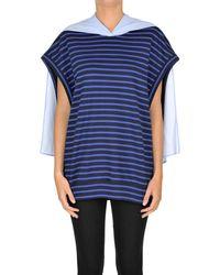 Y's Yohji Yamamoto Striped T-shirt With Panel - Blue