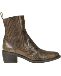 Maliparmi Reptile Print Leather Texan Ankle-boots - Brown