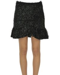 Motel Fringed Mini Skirt - Black