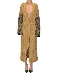 Angela Davis Textured Knit Maxi Cardigan - Natural