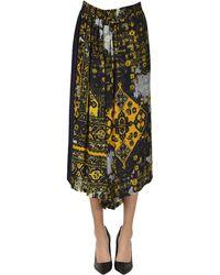 Y's Yohji Yamamoto Gonna pantalone in lana stampata - Multicolore