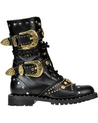 Fausto Puglisi - Studded Leather Combat Boots - Lyst