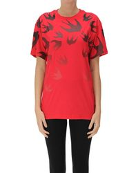McQ Swallows Print Cotton T-shirt - Red
