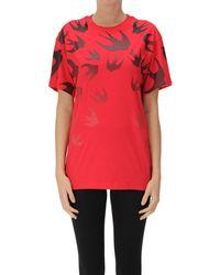 McQ T-shirt con rondini stampate - Rosso