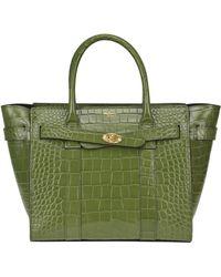 Mulberry Zipped Bayswater Shiny Croc Print - Green