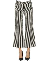 Keyfit Striped Cropped Cotton Pants - Black