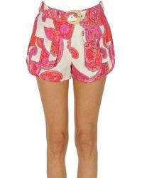 Zimmermann Shorts stampati in misto lino - Rosa