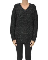 MSGM Fringed Lurex Knit Pullover - Black