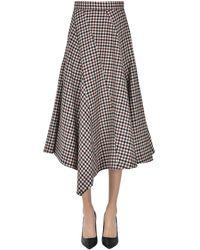JW Anderson Checked Print Wool Skirt - Black