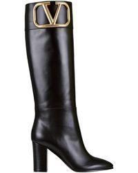 Valentino Valentino garavani stivali in pelle con logo - Nero