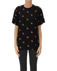 McQ Swallows Print Viscose T-shirt - Black