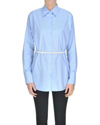 MM6 by Maison Martin Margiela - Cotton Shirt With Pearl Necklace - Lyst