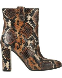 Via Roma 15 Reptile Print Leather Ankle Boots - Brown