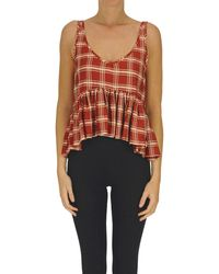 WEILI ZHENG Top cropped stampa check - Rosso