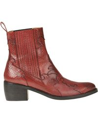 Maliparmi Reptile Print Leather Texan Ankle-boots - Red