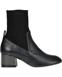 Marc Ellis Leather And Fabric Sock Ankle Boots - Black