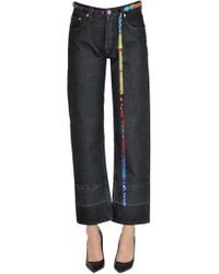 Loewe Cropped Jeans With Waistbelt - Black