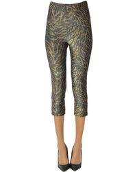 Ganni Animal Print Lamè Fabric leggings - Green