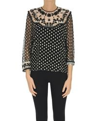 RED Valentino Embroidered Tulle - Black